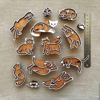 Купить Набор штампов для печати КОТИКИ - коричневый, натуральный, котики, коты, котята, игрушки, штамп
