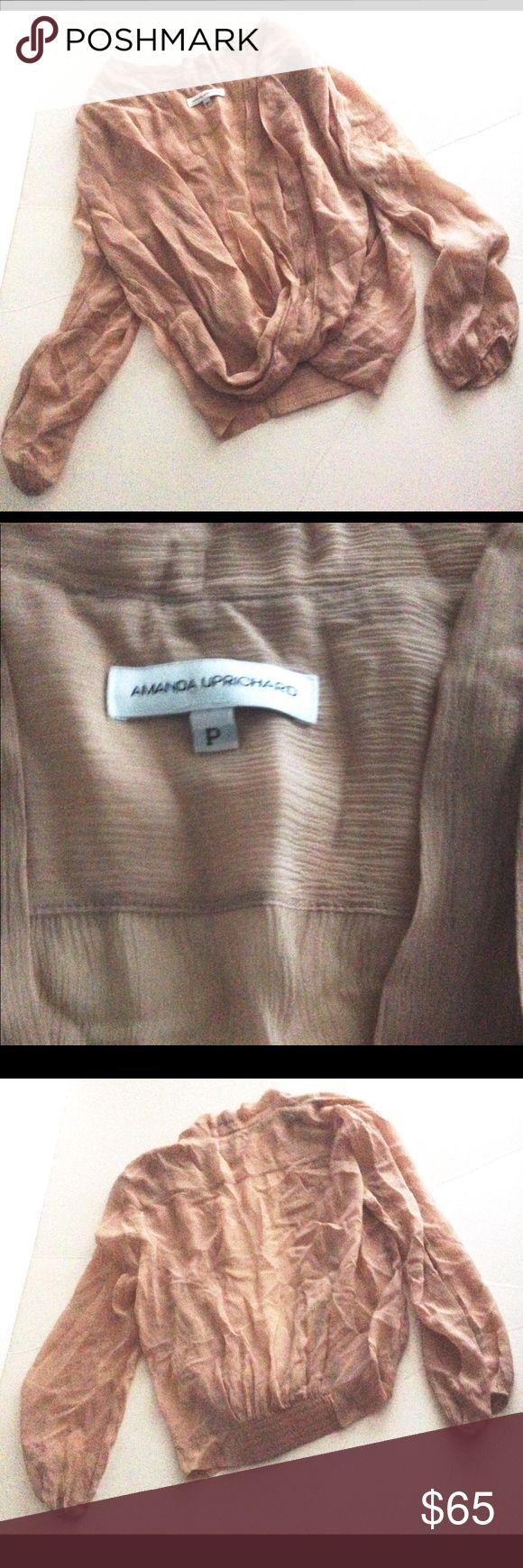 Amanda Uprichard faux wrap open style sheer silk Amanda Uprichard faux wrap open style sheer silk Amanda Uprichard Tops Blouses