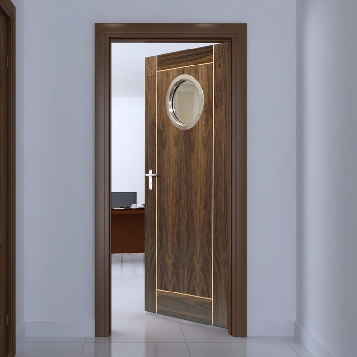 JBK Porthole 1 Vina Walnut Door with Oak Inlays is Pre-Finished & 58 best Office door with glazed portholes. images on Pinterest ...