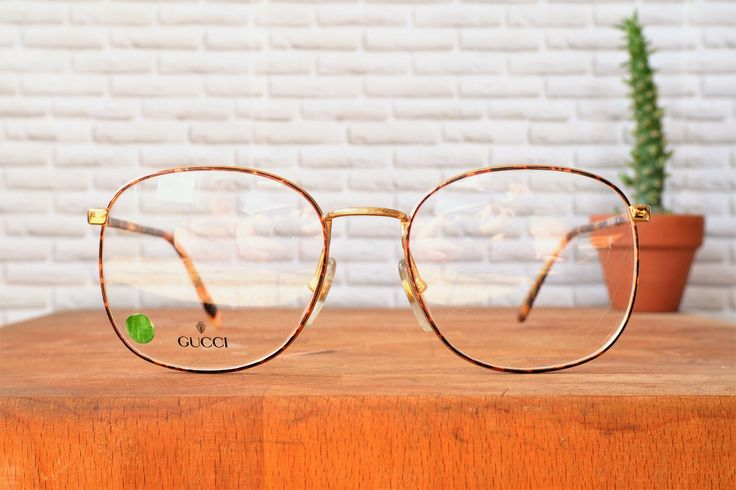 Vintage Gucci Eyeglass 1990's Designer Frame New Old Stock Glasses Made In Italy Blonde Tortoiseshell wire rim Ornate by hisandhervintage on Etsy