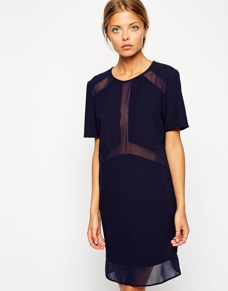 Sheer and Solid Shirt Dress