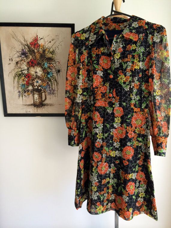 Floral broderie anglaise style cutwork vintage by MrsJoyful, $54.00