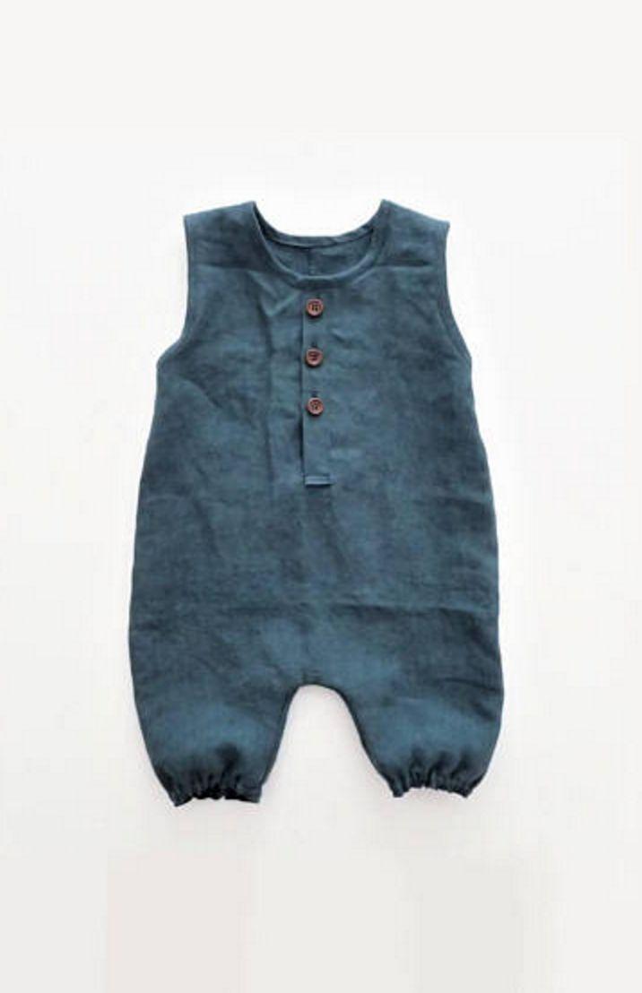 Handmade Unisex Linen Baby Romper | moonroomkids o…