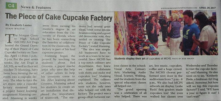 The Peace of Cake Cupcake Factory: A Collaborative Art Installation Project created by Morgan County High School art students.  (Ty Manning's Capstone Project)