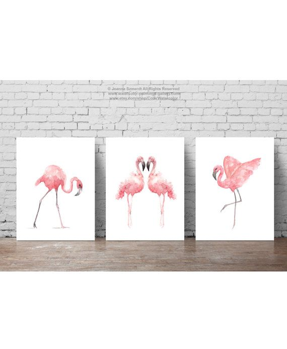 Flamingo Aquarell Sommer-Print Tropenvogel von ColorWatercolor