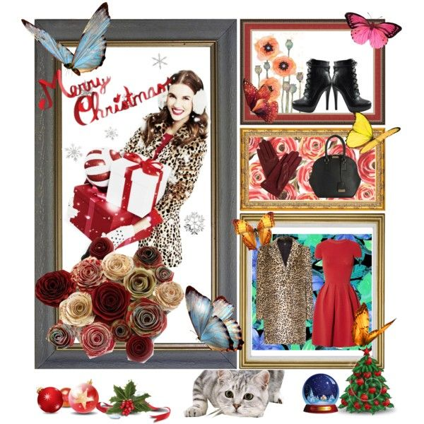 """""""Butterflies in Winter (""""It's alive!"""" said cat)"""" by aninditaa on Polyvore"""