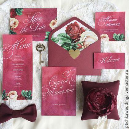 Свадебный набор полиграфии для гостей в цвете марсала: приглашение, конверт, карточка рассадки, благодарственная карточка, меню, карточка save the date