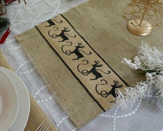 Christmas Table Runner Burlap Reindeer Custom by FairStreetCrafts, $12.00