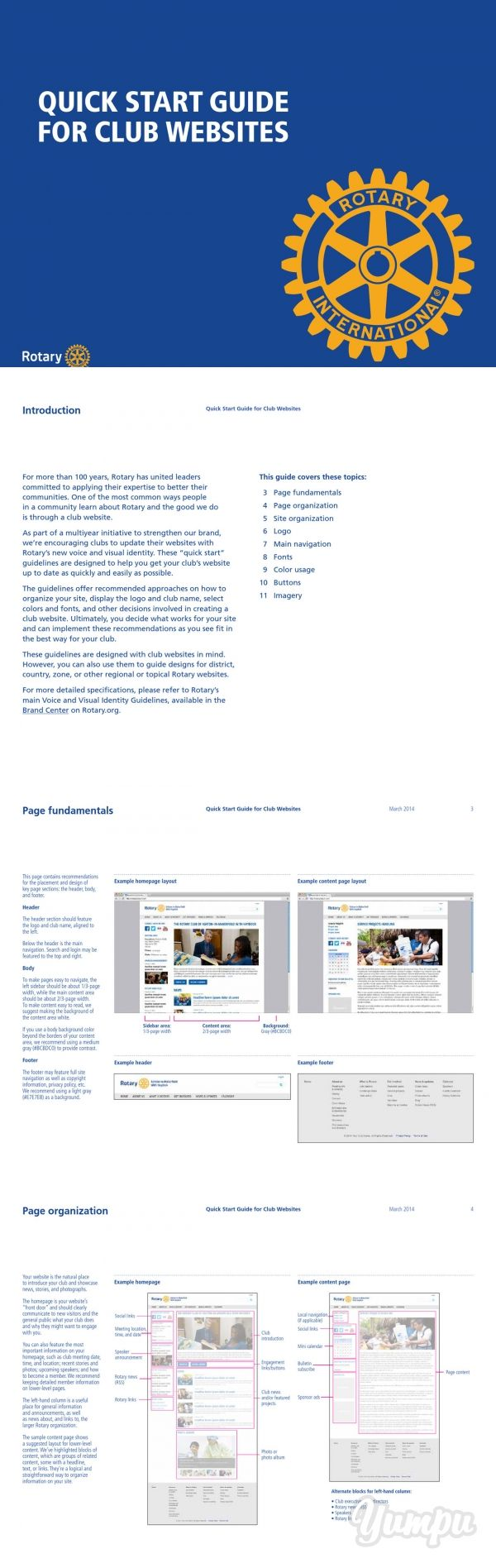 QUICK START GUIDE FOR CLUB WEBSITES - Magazine with 11 pages: Rotary International website reference