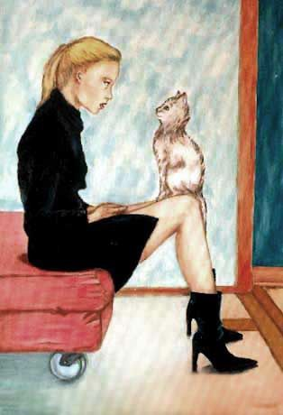 Donna con gatto olio su tela- by Margot