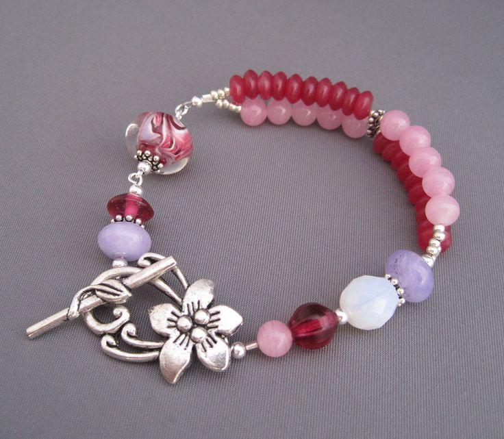Flower Garden Bracelet - Lampwork Glass Multi-Strands of Pink and Purple gemstones