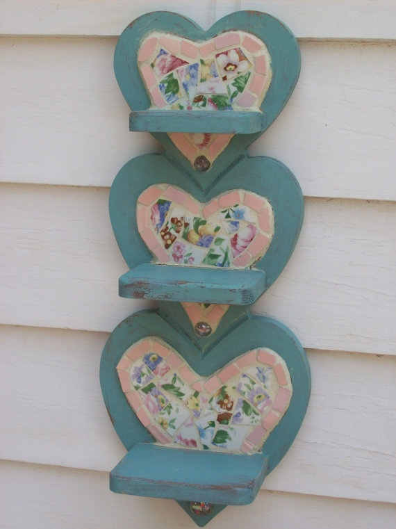 Aqua Blue Mosaic Shabby Chic 3tiered Shelf by cherylmillermosaics, $45.00