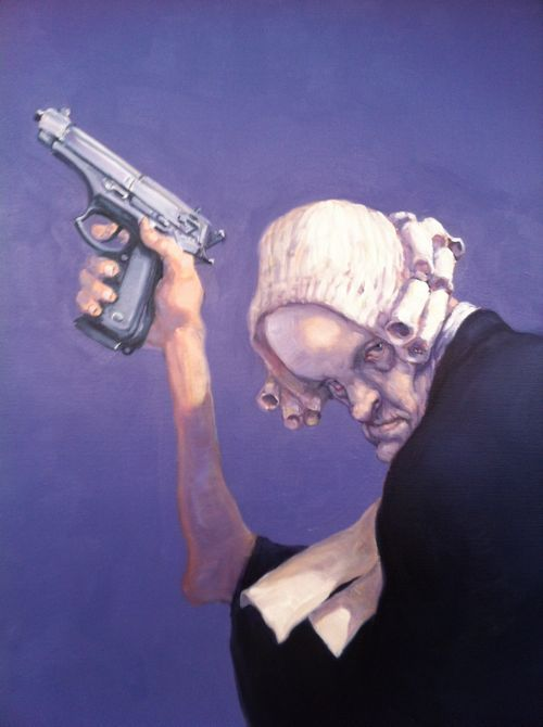 Michael Kvium An apt depiction of the legal system and the Congress, those who have bought into the horrid lies of the NRA