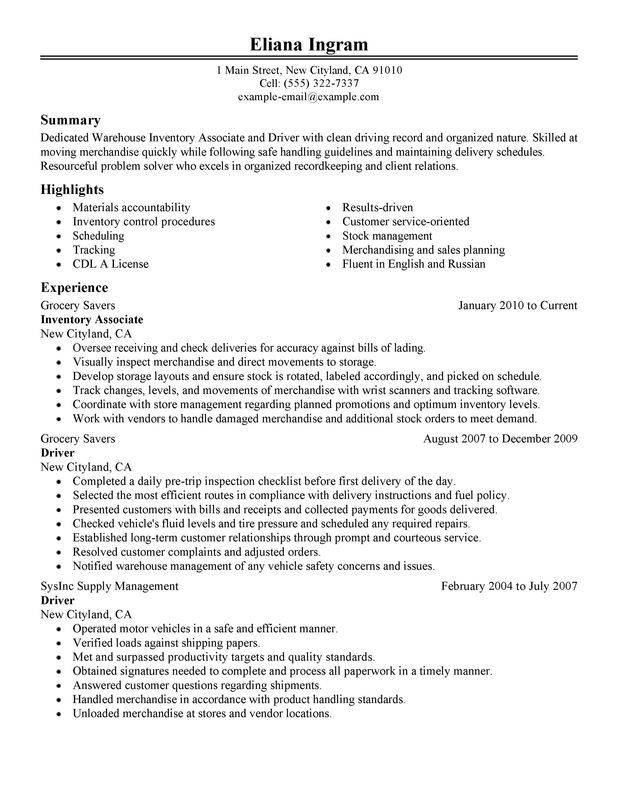 Inventory Associate and Driver Resume Sample