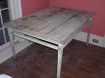 shabby yet chic antique soft green primitive rustic farm table on sale on ebay - Farm Tables For Sale