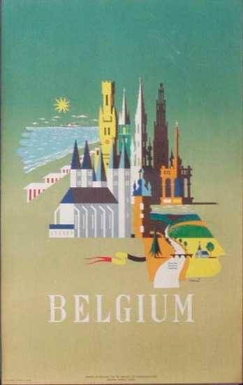 DP Vintage Posters - Belgium Townscape Original Vintage Travel Poster