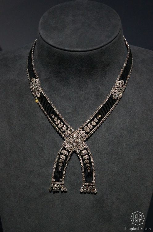 Cartier, Necklace, 1908, platinum, diamonds, silk @GrandPalais Antique Jewelry