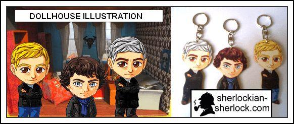 BBC Sherlock doll Benedict Cumberbatch Martin Freeman dollhouse