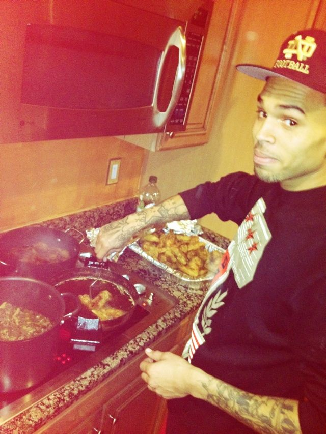 Chris Brown! Hot in the kitchen!!