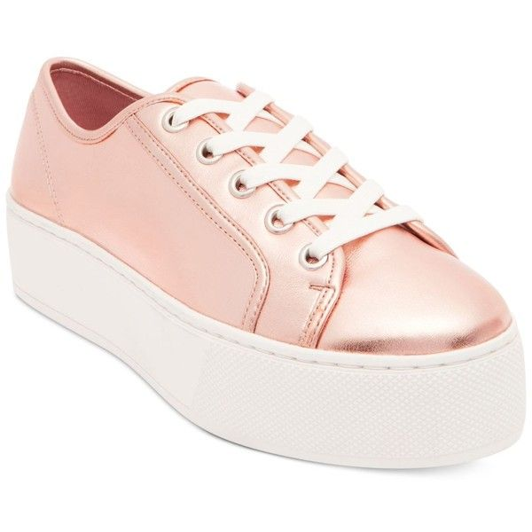 Steve Madden Foxi Flatform Sneakers ($79) ❤ liked on Polyvore featuring shoes, sneakers, rose gold, retro shoes, platform sneakers, flatform trainers, rose gold sneakers and rose gold shoes