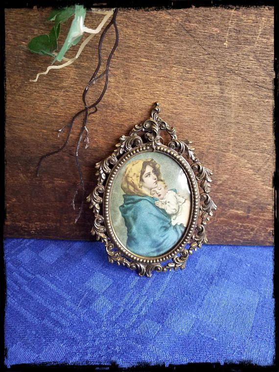 Vintage silk painted oval framed baroque woman wall hanging