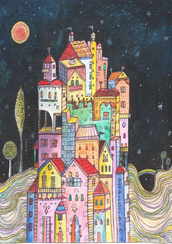 Printable Art Night Town Art Print Printable Wall by AthinArtPrint