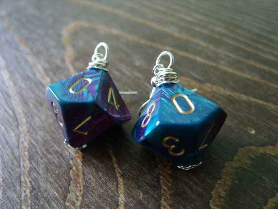 Purple turquoise D10 dice earrings by MageStudio