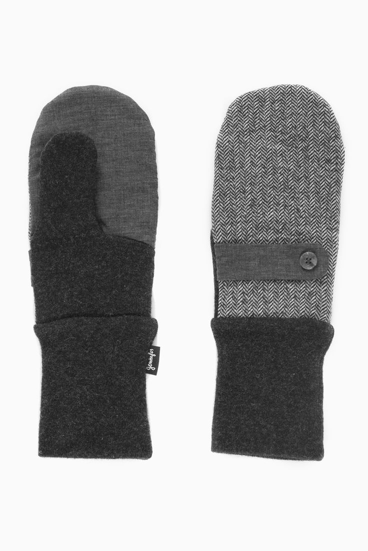 Jennifer Fukushima - grey and black herringbone mittens- mitts- organic cotton-recycled wool- vintage buttons- nylon-wrist strap