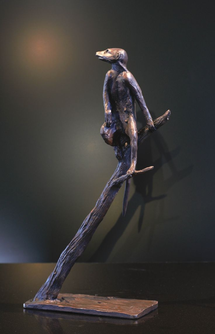 Meercat Lookout - Bronze Sculpture of a meercat on a branch by Bruce Little