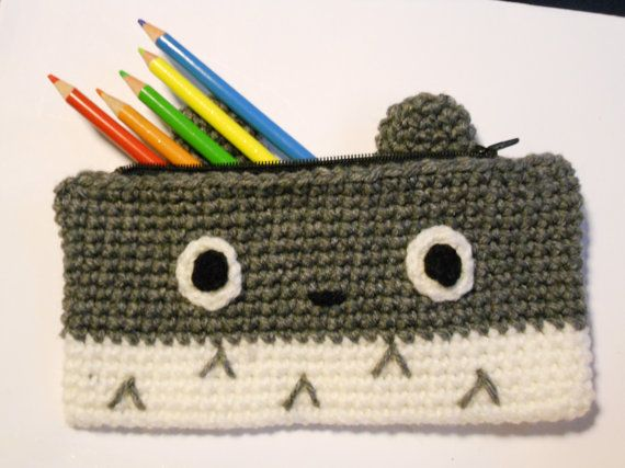Totoro Crocheted Pencil Case/ Pouch by CrochetFromKatie on Etsy, $8.00