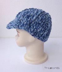 Gorra de crochet con visera Gorra para bebé de algodón color azul matizado.