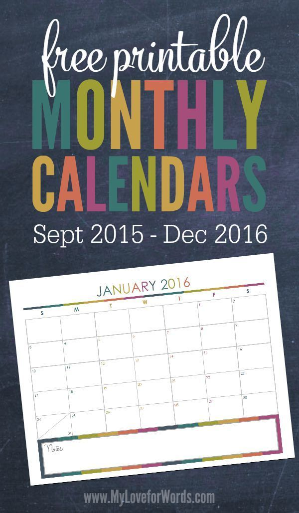 Love these cute and colorful free printable monthly calendars for the end of 2015 and all of 2016! They're part of a larger printable collection that includes printables for organizing: finances, cleaning, meal planning, organization, travel, fitness, kids, pets, goals, scheduling, and more!!