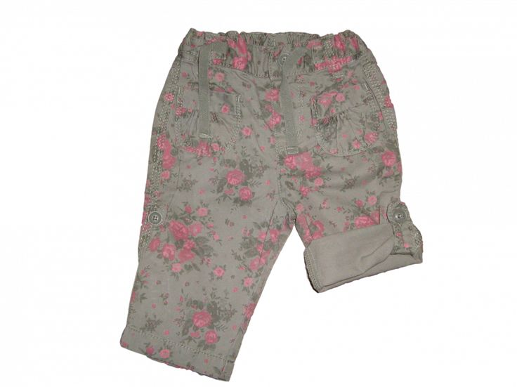 Maat 62 Broek Leger groen met rode bloemen Merk H&M