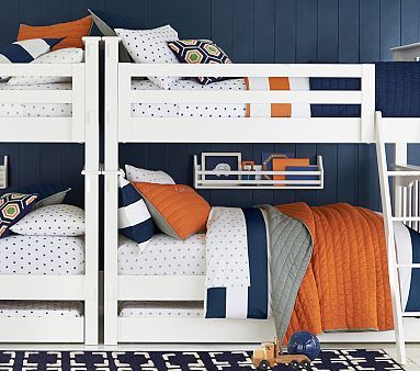 Kendall Bunk Bed - love the colors here (navy, orange, grey) . . . also love the white bunks.
