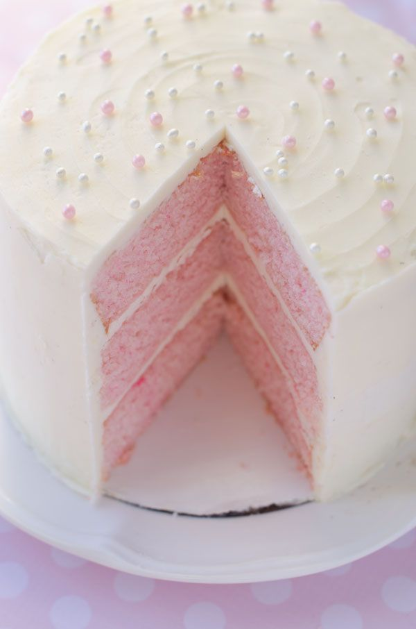 Pink almond party cake! I didn't know cakes could be this pink and pretty. I don't think I could make myself eat this because I'd feel so bad for ruining the prettiness