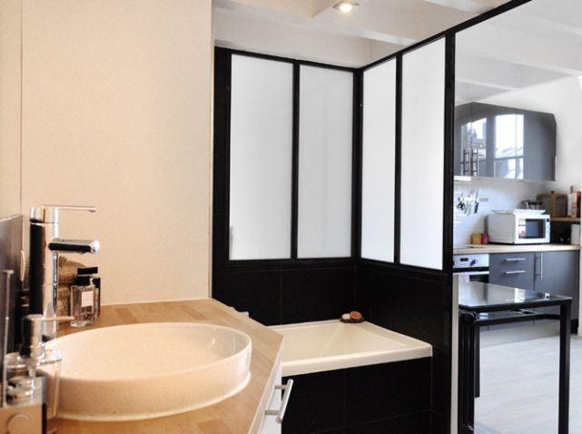 Studio   Bathroom   Salle de bains noire et blanche