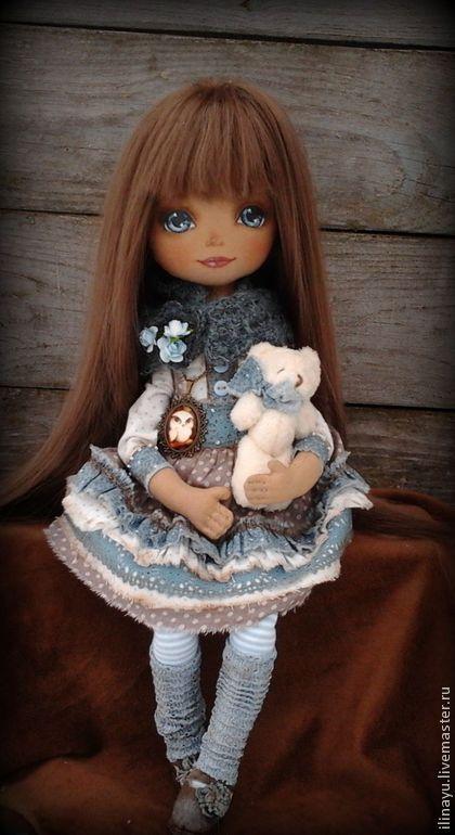 Настюша - голубой,кукла ручной работы,кукла,кукла в подарок,кукла текстильная