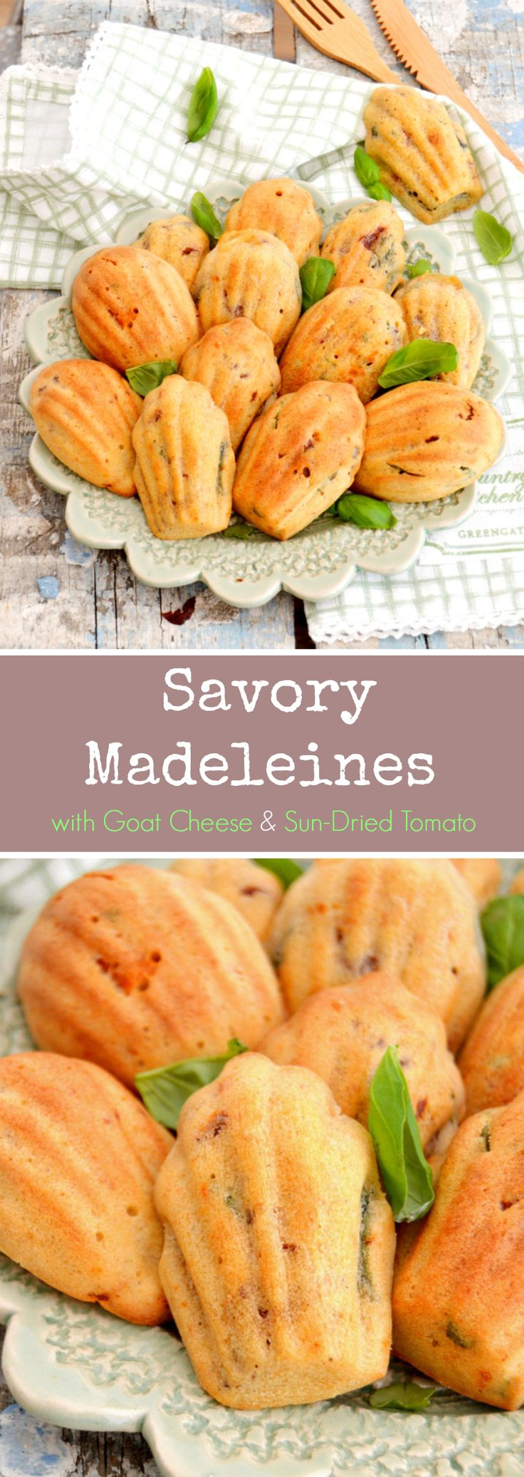 Goat cheese and sun dried tomato madeleines - a delicious savory madeleine cookie that is perfect served as an appetizer or alongside a fresh garden salad! | Del's cooking twist