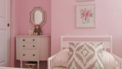 the pink toddler bedroom, bedroom ideas, home decor, painted furniture, wall decor