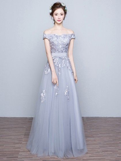 A-line Gray Tulle Appliques Lace Discounted Off-the-shoulder Prom Dresses - pickedresses.com