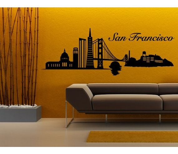 San Francisco Skyline wall decal, sticker, mural, vinyl wall art |  Sourdoughcisco | Pinterest | Vinyls, Vinyl wall art and Sanu2026