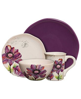 Gibson Dinnerware, Botanical Charm Purple 16-Piece Set - Casual Dinnerware - Dining & Entertaining - Macy's