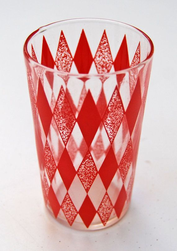 Vintage 1950s Drinking Juice Glass Red Diamond by msatomic, $6.50