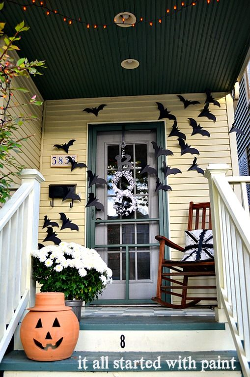 Halloween Door Decorations - Bats on Door * It All Started With Paint