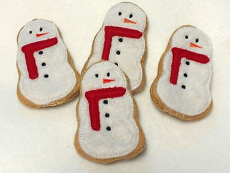 Felt food Christmas Snowman Cookies Set Of 4 Great stocking stuffers - Felt play food