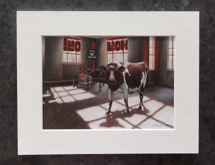 Art Print,Urban Cow Print,Small Wall and Table Art,Suit Modern & Traditional Decor,Original Art Wendy Jane Sheppard,Unexpected Encounter by ArtWendyJaneSheppard on Etsy