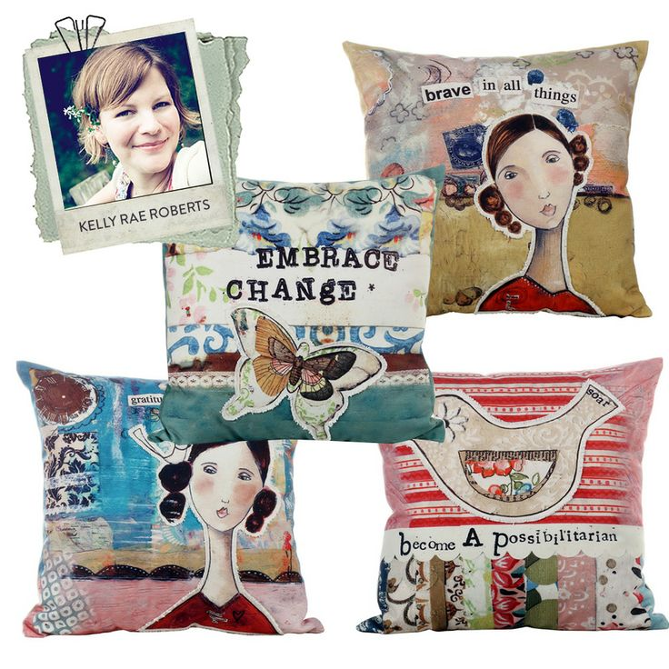 Kelly Rae Roberts Designer Cushions Set Of 4 | 40cm by Designers at The Home on THEHOME.COM.AU  <3<3MORE FABULOUS NEW ART/DESIGN FROM AN ARTIST I'D NOT HEARD OF TILL NOW - GLAD I DO NOW :) <3WONDERFUL MIXED MEDIA LOOK TO THESE CUSHIONS<3<3 @