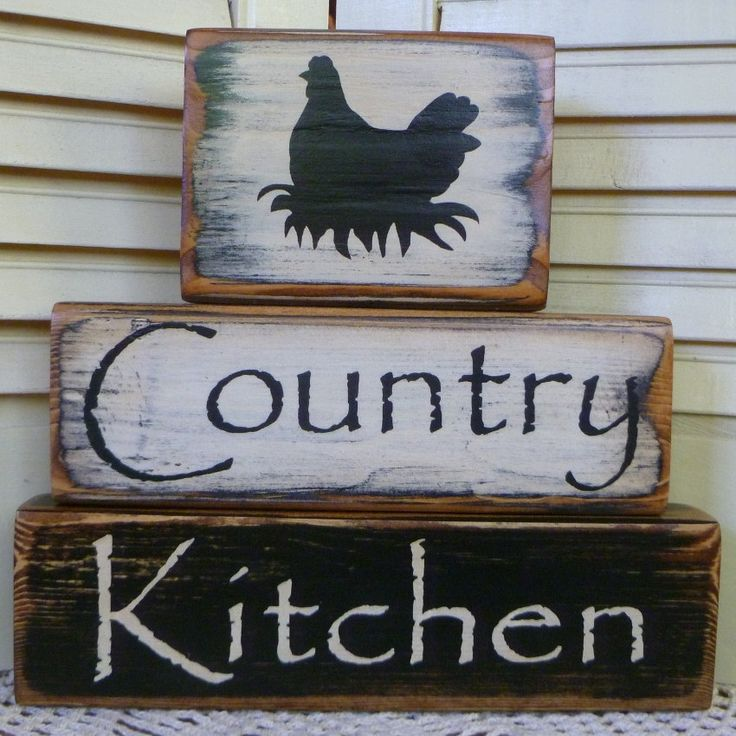 Primitive Country Kitchen Chicken Block Set Shelf Sitter Hand Painted Wood. $19.95, via Etsy.