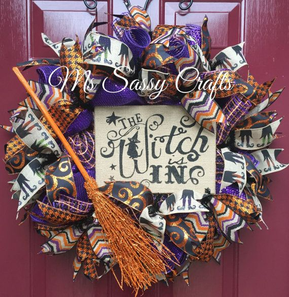 halloween wreath witch wreath witch is in by mssassycrafts - Halloween Deco
