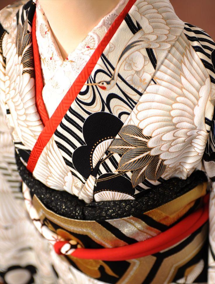 【きもの道楽】振袖レンタルフルセット8SACB-96[振袖][レンタル][成人式レンタル][成人式][1月][貸衣装][振袖レンタル][着物レンタル][アンティーク][小紋調][鶴・梅][白黒][150cm~168cm位まで]足袋・肌着プレゼント★往復送料無料★